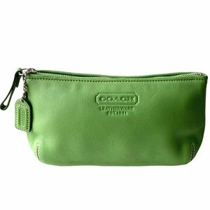 Coach Cosmetic Makeup Bag Green leather